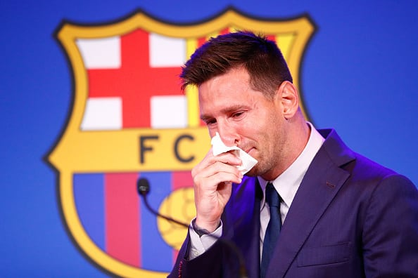 Lionel Messi Couldn't Control His Tears During Barcelona Farewell Speech At Camp Nou - Watch
