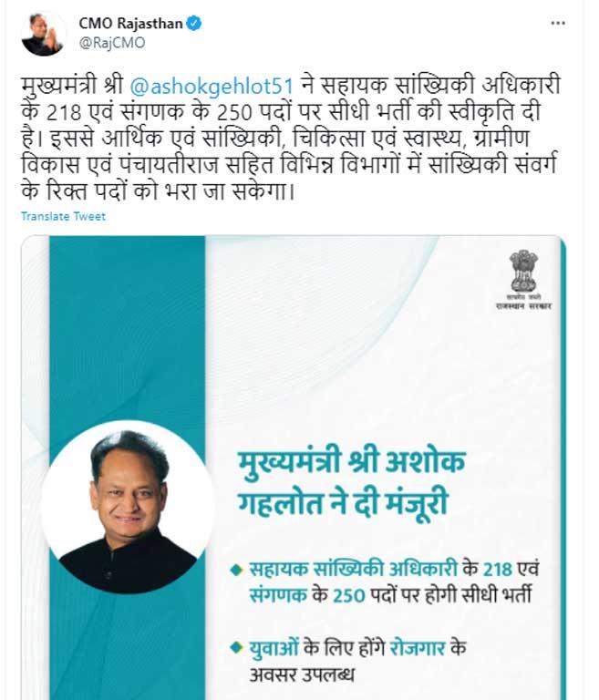 राजस्थान सहायक सांख्यिकीय अधिकारी भर्ती 2021